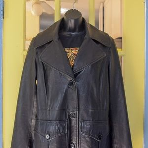 Beautiful DKNY leather trench coat!